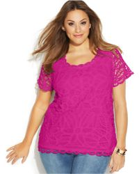 Inc International Concepts Plus Size Sleeveless Tie-Front Button-Down Shirt - Lyst