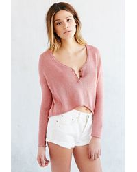 Mouchette - Cropped Henley Top - Lyst
