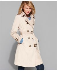 London Fog Double Breasted Belted Trench Coat - Lyst