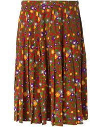 Yves Saint Laurent Vintage Floral Pleated Skirt - Lyst