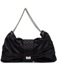 Chanel Pre-Owned Black Satin Bow Bag - Lyst