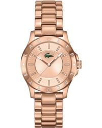 Lacoste Women'S Madeira Rose Gold Ion-Plated Stainless Steel Bracelet Watch 32Mm 2000851 - Lyst