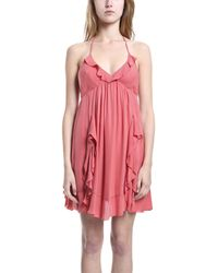 L'Agence Halter Mini Dress In Coral pink - Lyst