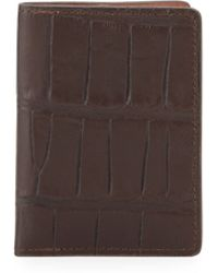 Will Leather Goods Tobias Croc-Embossed Card Case - Lyst