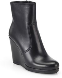 Prada Leather Wedge Ankle Boots - Lyst