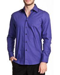 T.R. Premium - Printed Long Sleeve Button Down Shiney Shirt - Lyst