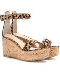 Gianvito Rossi Calf Hair Wedge Sandals - Lyst