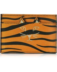 Charlotte Olympia | Feline Orange Tiger Print Leather Card Holder | Lyst