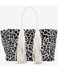 Sara Battaglia Fringe Safari Print Calfhair Shopper Tote - Lyst