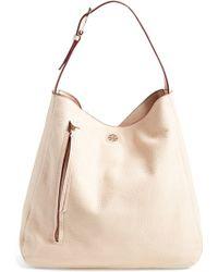 Tory Burch 'Brody' Leather Hobo Bag beige - Lyst