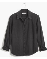 Madewell Denim Crop Boyshirt in Gravel Wash - Lyst