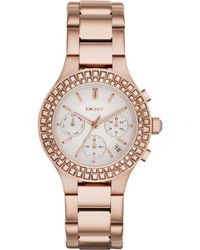 DKNY Women'S Chambers Rose Gold Ion-Plated Stainless Steel Bracelet Watch 38Mm Ny2261 - Lyst