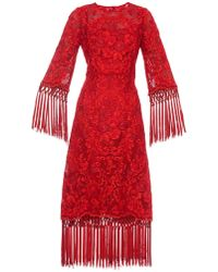 Dolce & Gabbana Floral-Embroidered Fringed Dress - Lyst