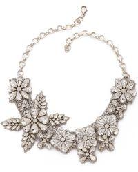 Deepa Gurnani Crystal Floral Necklace - Ivory - Lyst