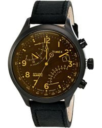 Мужские часы Timex Men s Premium Intelligent Quartz Fly-Back Chronograph Black Leather Strap 43Mm T2N930Ab