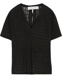 Stella McCartney Croc-Print Slit-Back Jersey T-Shirt - Lyst