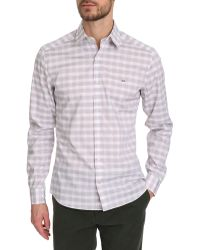 Lacoste White Shirt With Pink And Grey Logo On Chest - Lyst