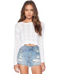 Autumn Cashmere Shell Stitch Crop Sweater - Lyst