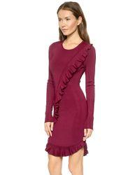 Torn By Ronny Kobo Tahara Knit Ruffle Dress - Burgundy - Lyst