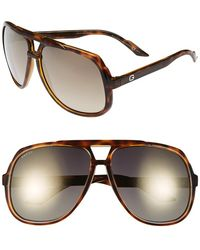 Gucci Women'S Vintage Inspired Stripe 63Mm Aviator Sunglasses - Havana/ Grey Flash Gold - Lyst