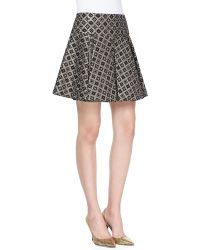 Nanette Lepore Magician Diamond Woven Pleated Mini Skirt - Lyst
