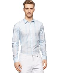 Calvin Klein Teal Large Plaid Shirt blue - Lyst