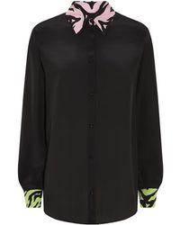 Moschino Cheap & Chic Contrast Print Silk Shirt - Lyst