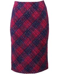 Oscar de la Renta Gingham Tweed Pencil Skirt - Lyst