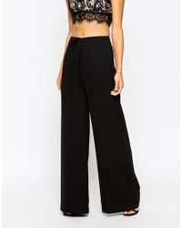 ASOS | Woven Wide Leg Trousers With Wrap Tie Front | Lyst