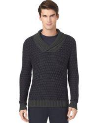 Calvin Klein Reverse Jacquard Shawl Collar Sweater - Lyst