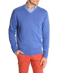 Tommy Hilfiger Pacific V-Neck Dazzling Blue Cotton Sweater - Lyst