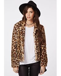 Missguided Serena Cropped Faux Fur Coat - Lyst