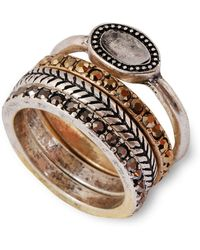Lucky Brand - Metallic And Semi-precious Rock Crystal Ring Set - 4 - Lyst