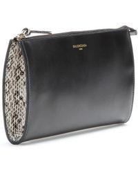Balenciaga Padlock Nude Pouch Leather And Snakeskin Clutch - Lyst