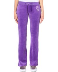 Juicy Couture Diamante-Encrusted Velous Jogging Bottoms - For Women - Lyst