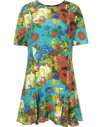 Topshop Silk Botanical Print Flippy Dress By Boutique - Lyst