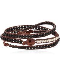 Colana - Skull Beaded Leather Wrap Bracelet - Lyst