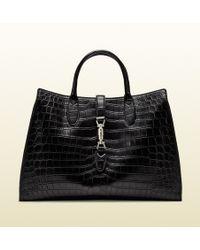 Gucci Jackie Soft Crocodile Top Handle Bag - Lyst