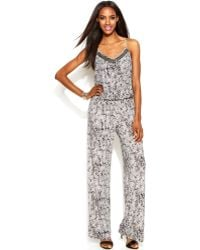 INC International Concepts - Sleeveless Printed Embellished Jumpsuit - Lyst