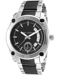 Ted Lapidus - Men's Two-tone Stainless Steel Black Textured Dial - Lyst