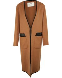 Day Birger et Mikkelsen - Camel Briony Leather Trim Cardigan Coat - Lyst