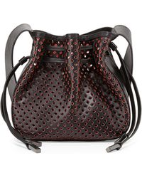 Halston Heritage Bianca Medium Perforated Drawstring Crossbody Bag - Lyst
