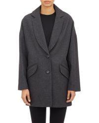 Barneys New York Oversize Cocoon Coat gray - Lyst