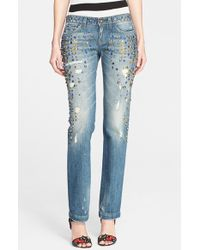 Dolce & Gabbana Straight Leg Embroidered & Distressed Jeans - Lyst