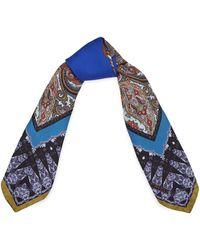 Etro Blue Fancy Paisley Silk Scarf - Lyst