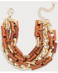 Bebe - Wood & Chain Wrap Bracelet - Lyst