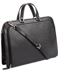 Prada Black Saffiano Leather Top Handle Briefcase - Lyst