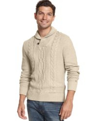 Tommy Hilfiger New George Cable Knit Shawl Collar Sweater - Lyst