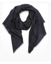 Fendi Dark Blue Wool Blend Jacquard Zucca Pattern Fringe Scarf - Lyst