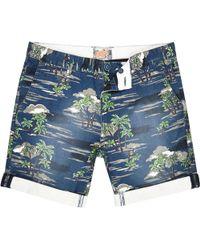 River Island Navy Bellfield Palm Print Cuffed Shorts blue - Lyst